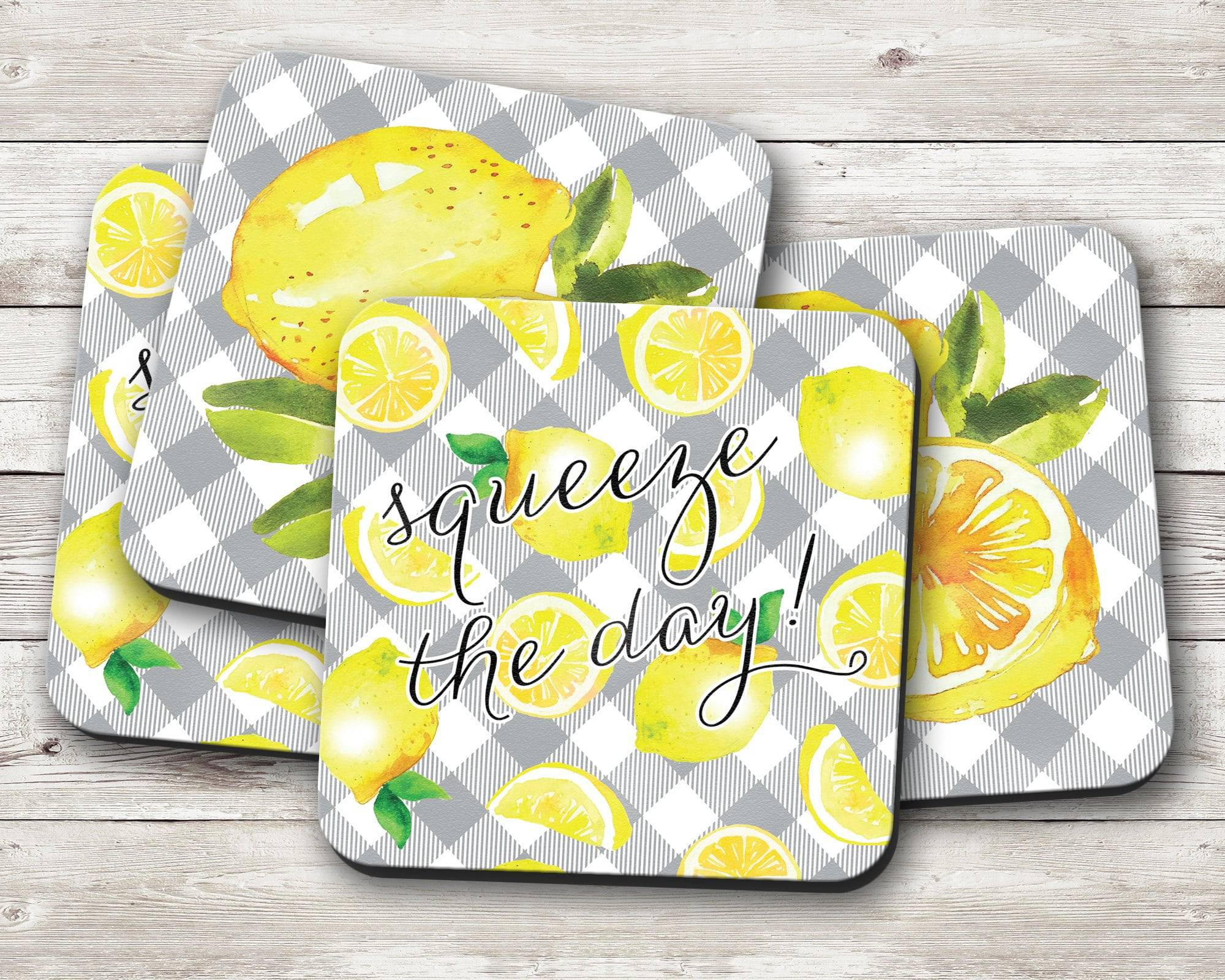 Lemon Gray Plaid Coaster Set