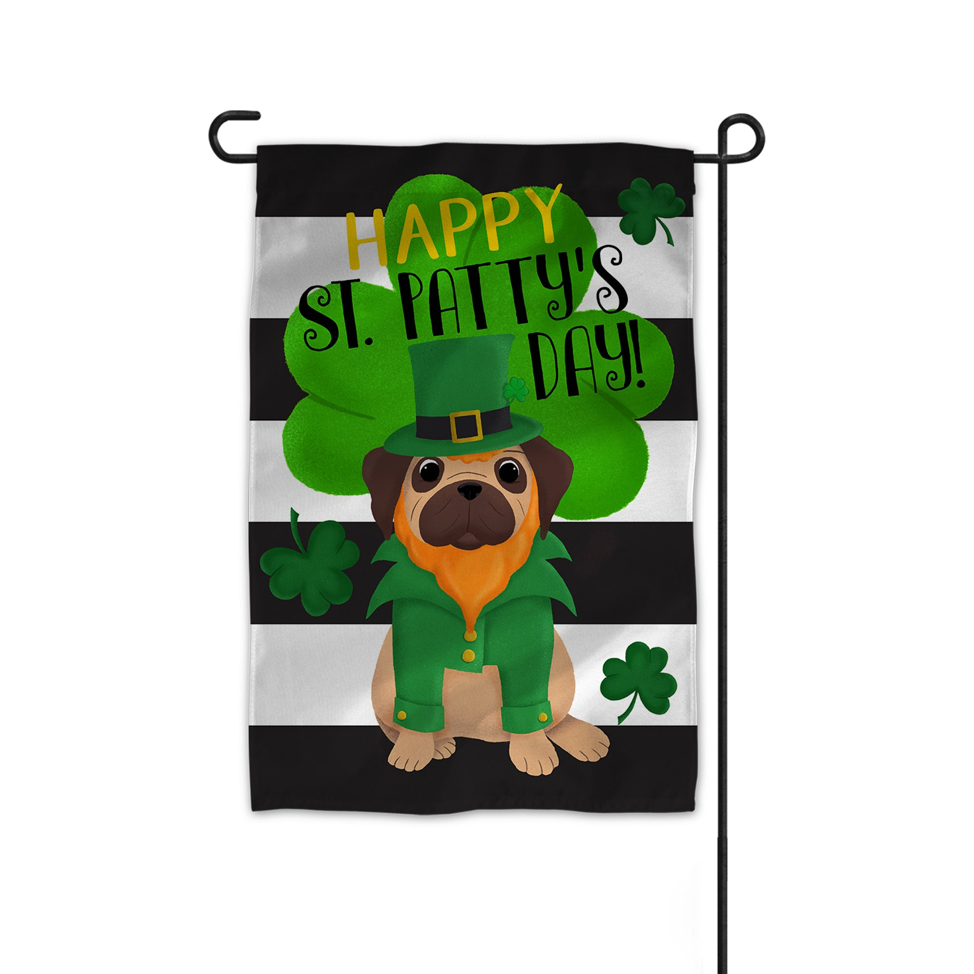 Pug St. Patrick's Day Garden Flag - My Treasured Gifts Co