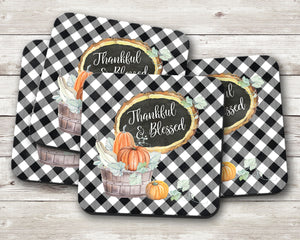 Thankful and Blessed Fall Coaster Set