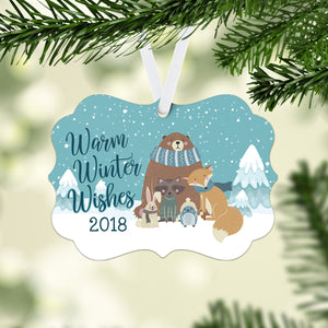 Winter Woodland Animals Photo Ornament