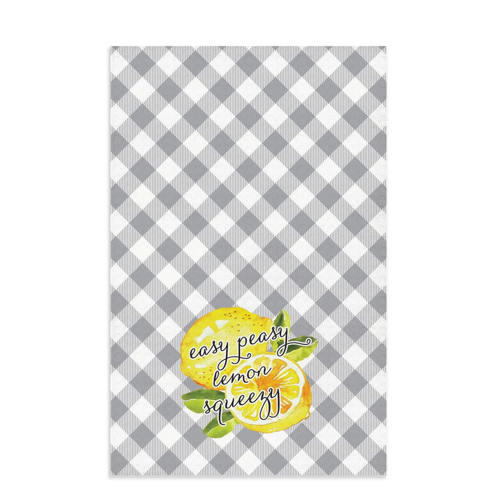 Easy Peasy Lemon Gray Plaid Towel - My Treasured Gifts Co