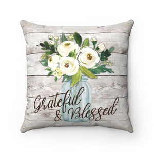 Grateful & Blessed Rustic Floral Pillow Case