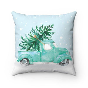 Teal Holiday Truck Throw Pillow