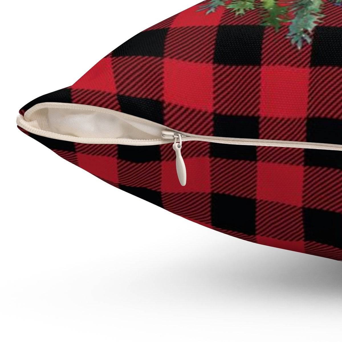 Red Plaid Merry Christmas Pillow