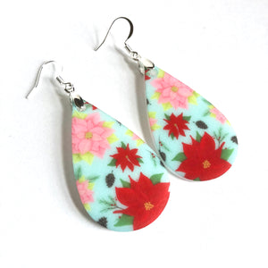 Poinsettia Teardrop Earrings - My Treasured Gifts Co