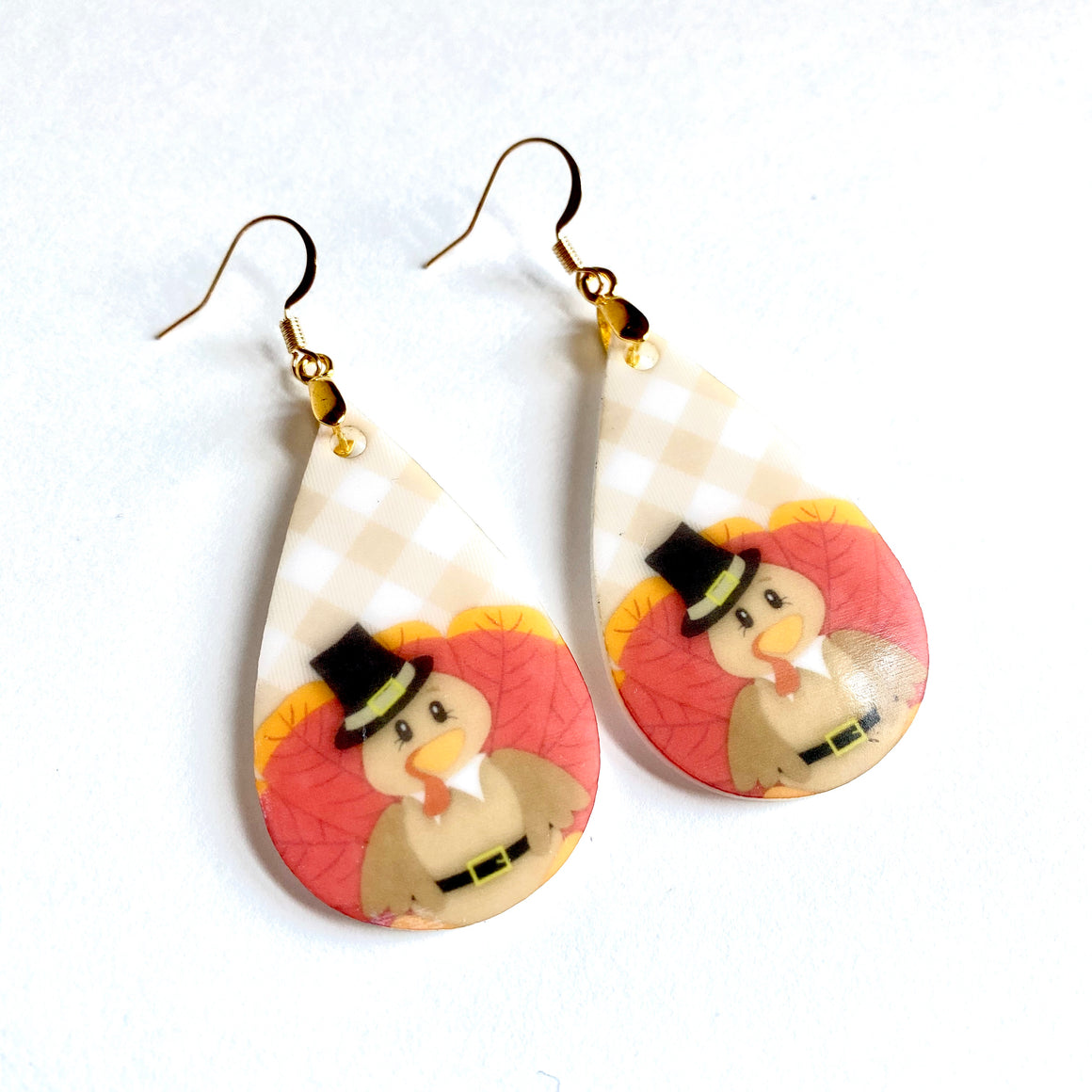 Thanksgiving Turkey Teardrop Earrings