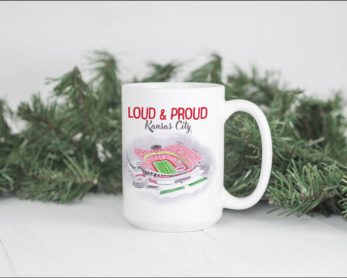 Loud and Proud Arrowhead Stadium Watercolor 15oz Mug