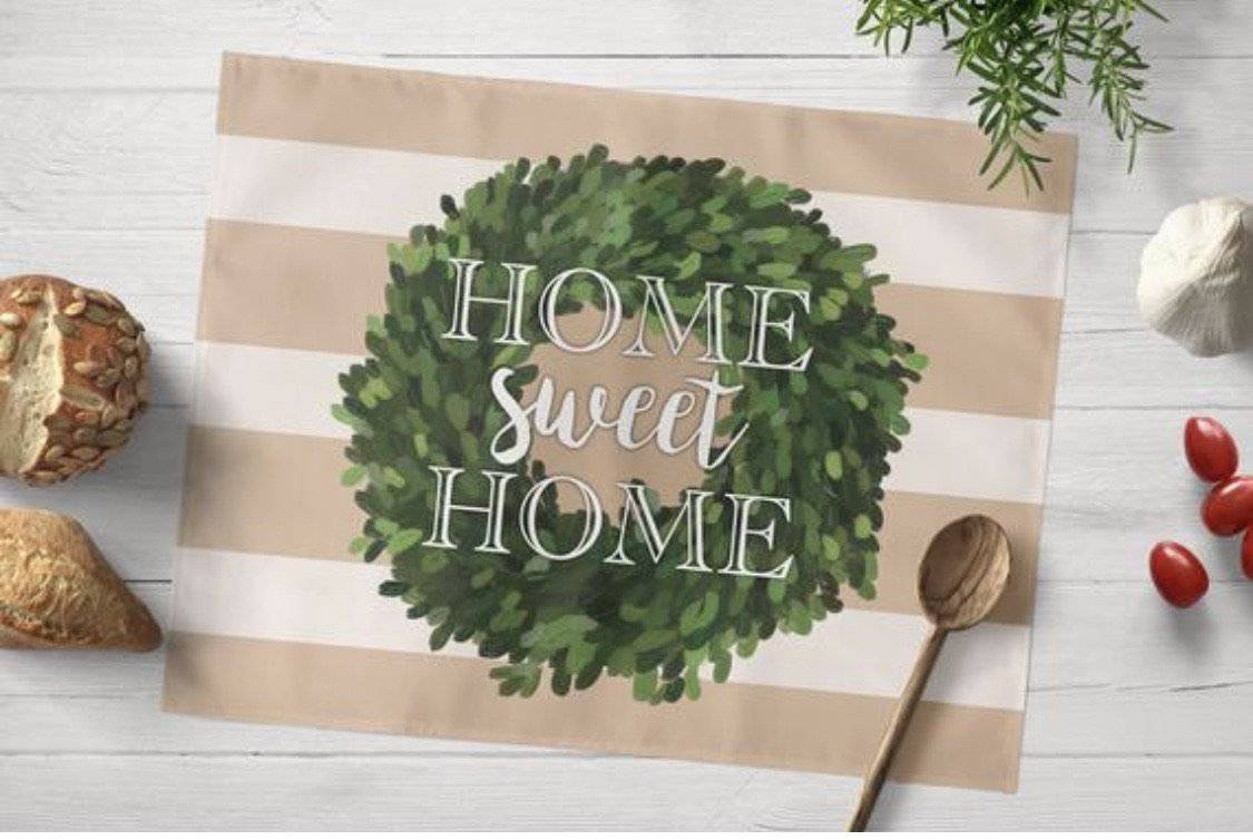 Khaki Striped Home Sweet Home Placemat - My Treasured Gifts Co