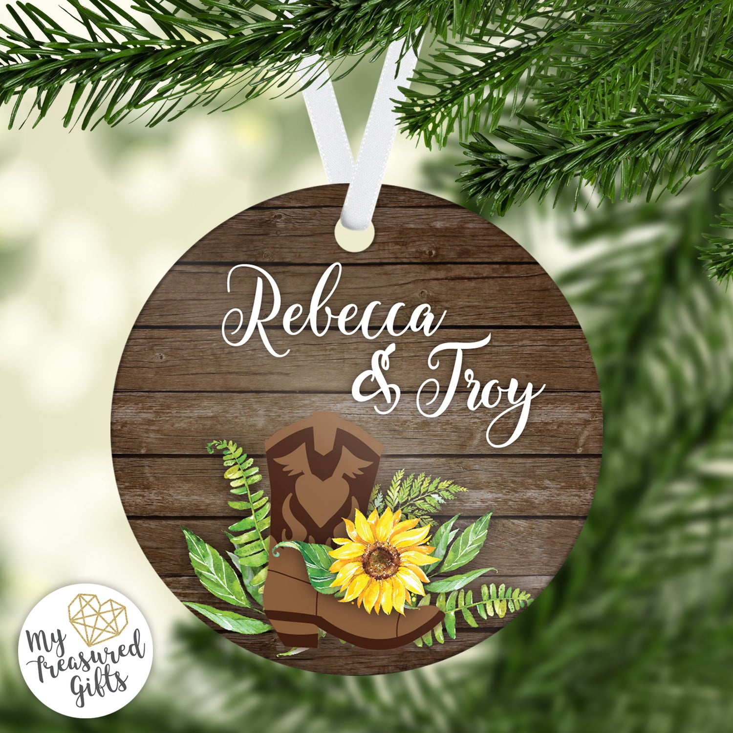 Rustic Sunflower Wedding Ornament - My Treasured Gifts Co