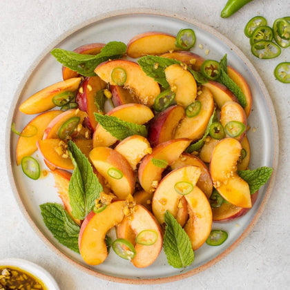 Spicy Peach + Mint Salad