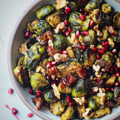 Charred Brussel Sprouts with Dates & Walnuts