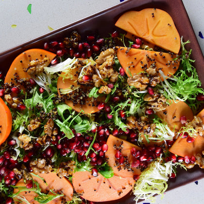 Pomegranate Persimmon Salad with Toasted Walnuts