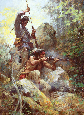 White Man Fire Sticks Masterwork Edition Canvas by Howard Terpning