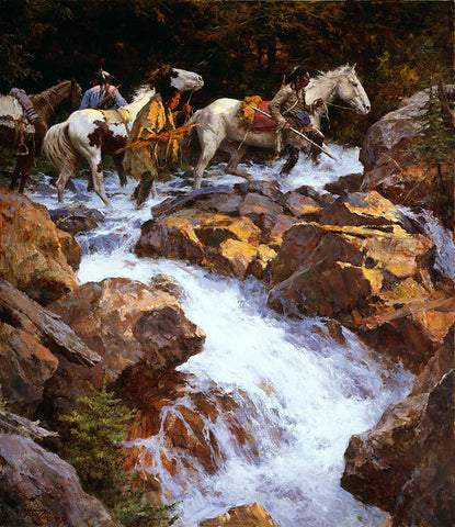 White Water Passage by Howard Terpning
