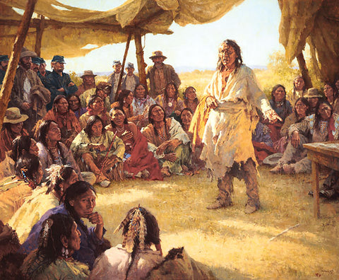 Paper That Talks Two Ways, The Treaty Signing Masterwork Canvas Edition by Howard Terpning