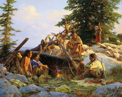 Camp at the Cougar´s Den  by Howard Terpning