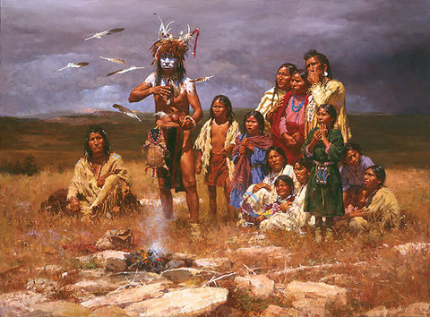 The Shaman and His Magic Feathers Museum Edition Canvas  by Howard Terpning