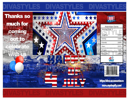4th of July themed printable chip bag, DOWNLOAD ONLY - Diva Accessories N More
