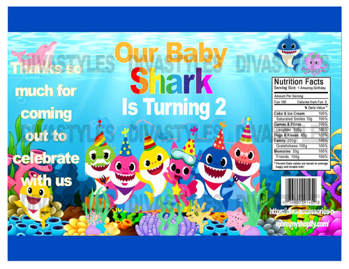 Baby Shark Age 2 printable chip bag, DOWNLOAD ONLY - Diva Accessories N More