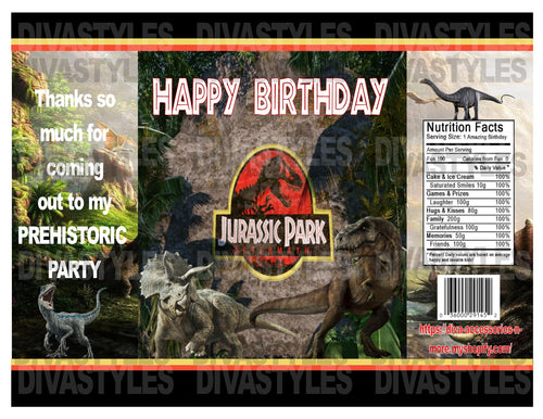 Jurassic Park printable chip bag, DOWNLOAD ONLY - Diva Accessories N More