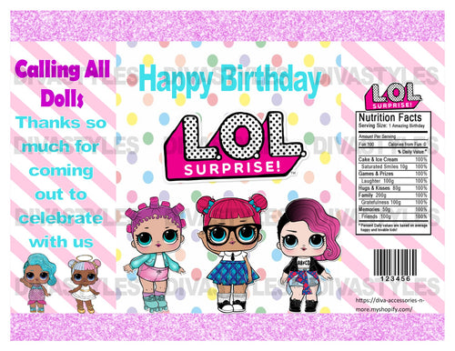 LOL DOLL teal printable chip bag, pastel DOWNLOAD ONLY - Diva Accessories N More