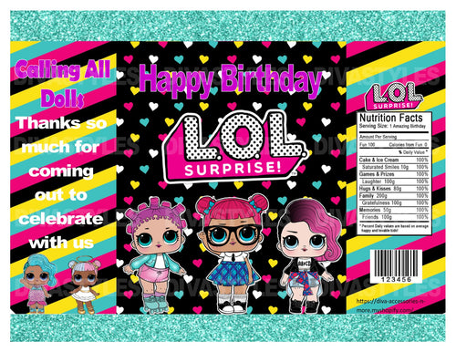 LOL DOLL teal printable chip bag, DOWNLOAD ONLY - Diva Accessories N More