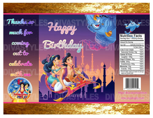Aladdin theme printable chip bag, DOWNLOAD ONLY - Diva Accessories N More