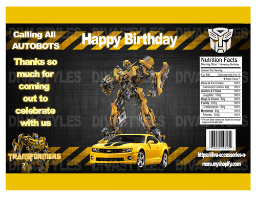 Transformer, Bumblebee printable chip bag, DOWNLOAD ONLY - Diva Accessories N More