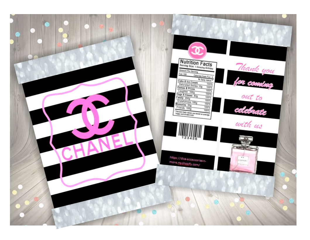 graphic regarding Printable Chip Bags called Chanel themed printable chip bag, Down load Merely