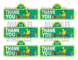 Sesame Street thank you tags, printable - Diva Accessories N More