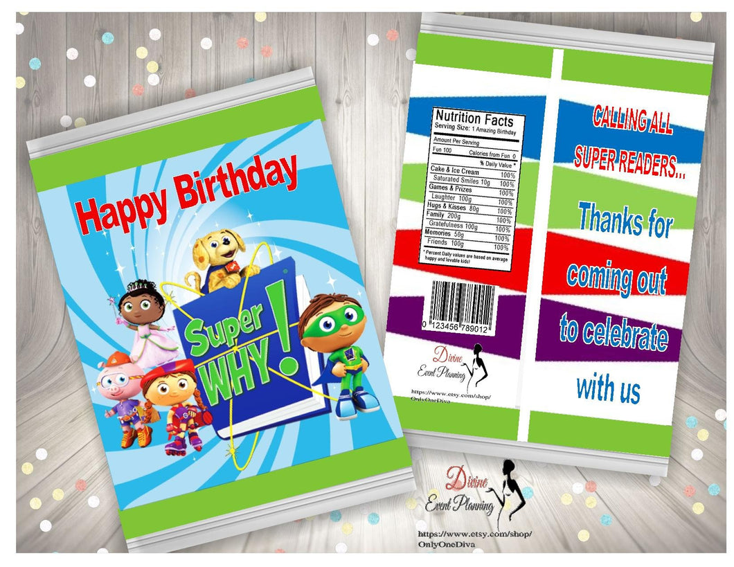 Super Why chip bag birthday treat bags club theme, party bags, diy, printable, instant download - Diva Accessories N More
