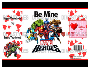 Valentine's Day Marvel themed printable chip bag, DOWNLOAD ONLY - Diva Accessories N More