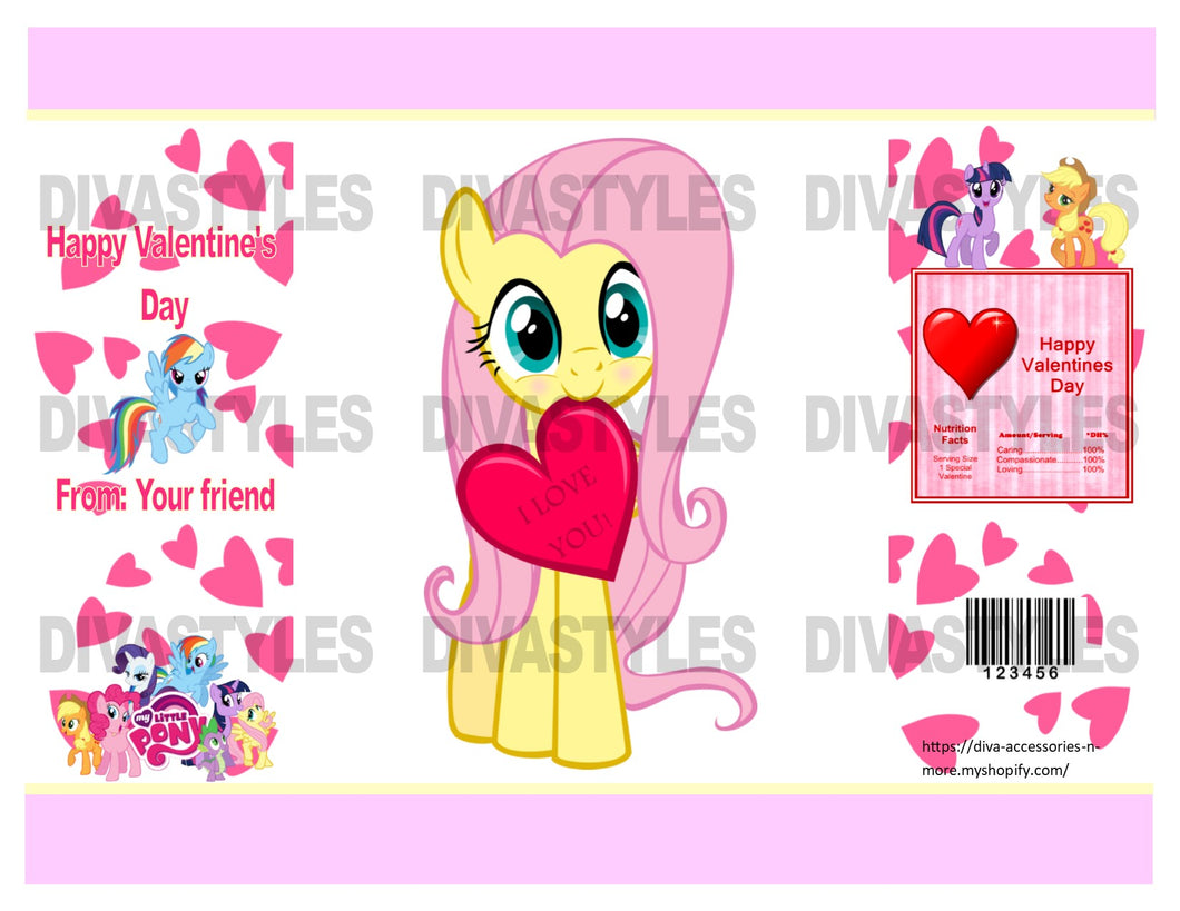 Valentine's Day My Little Pony themed printable chip bag, DOWNLOAD ONLY - Diva Accessories N More
