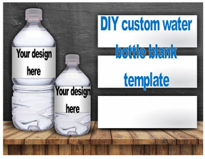 DIY custom water bottle label BLANK TEMPLATE - Diva Accessories N More