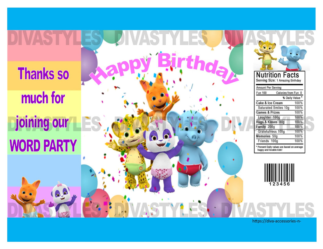 WORD PARTY printable chip bag, DOWNLOAD ONLY - Diva Accessories N More