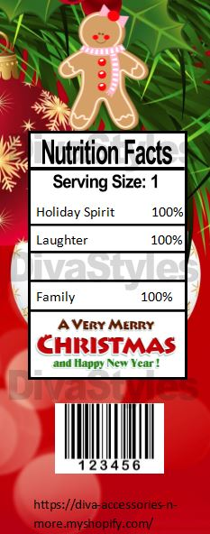 Custom Xmas Nutrition Facts - Diva Accessories N More