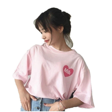 HaoKe Women Girls Japanese Kawaii Strawberry Milk Box Graphic T-Shirt