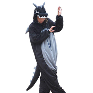 Lifeye Men Women Black Dragon Pajamas Animal Cosplay Costume