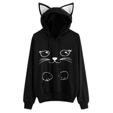 Load image into Gallery viewer, Lziizl Women Girl Hoodies Cute Cat Ear Novelty Printed Pullover Sweatshirt