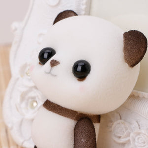 OHTOP Plastic Flocking Duck Panda Puppy Doll Small Cute Cartoon Animal Plush