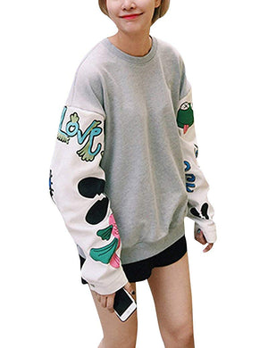 Women's Harajuku Plus Size Floral Fashion-Sweatshirts