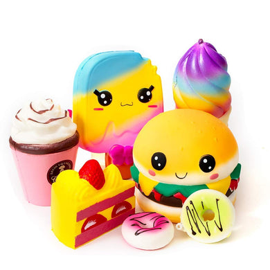 Ice Cream, Hamburger, Cake, Ice Lolly, Donut, and Frappuccino Kawaii Soft Food Squishy