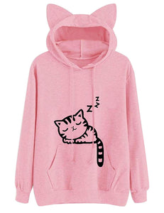 Lziizl Women Girl Hoodies Cute Cat Ear Novelty Printed Pullover Sweatshirt