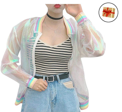 RARITY-US Women Girls Hologram Rainbow Bomber Jacket Iridescent Transparent Summer Sun-Proof Coat