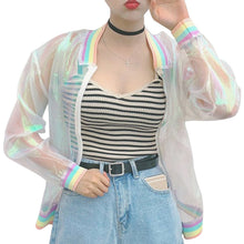 Load image into Gallery viewer, RARITY-US Women Girls Hologram Rainbow Bomber Jacket Iridescent Transparent Summer Sun-Proof Coat