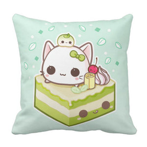 VANMI Throw Pillow Cover Cat Cute Mochi Kitty with Kawaii Green Tea