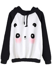 Load image into Gallery viewer, MAKEMECHIC Women's Casual Long Sleeve Cartoon Print Raglan Pullover Hoodie Sweatshirt