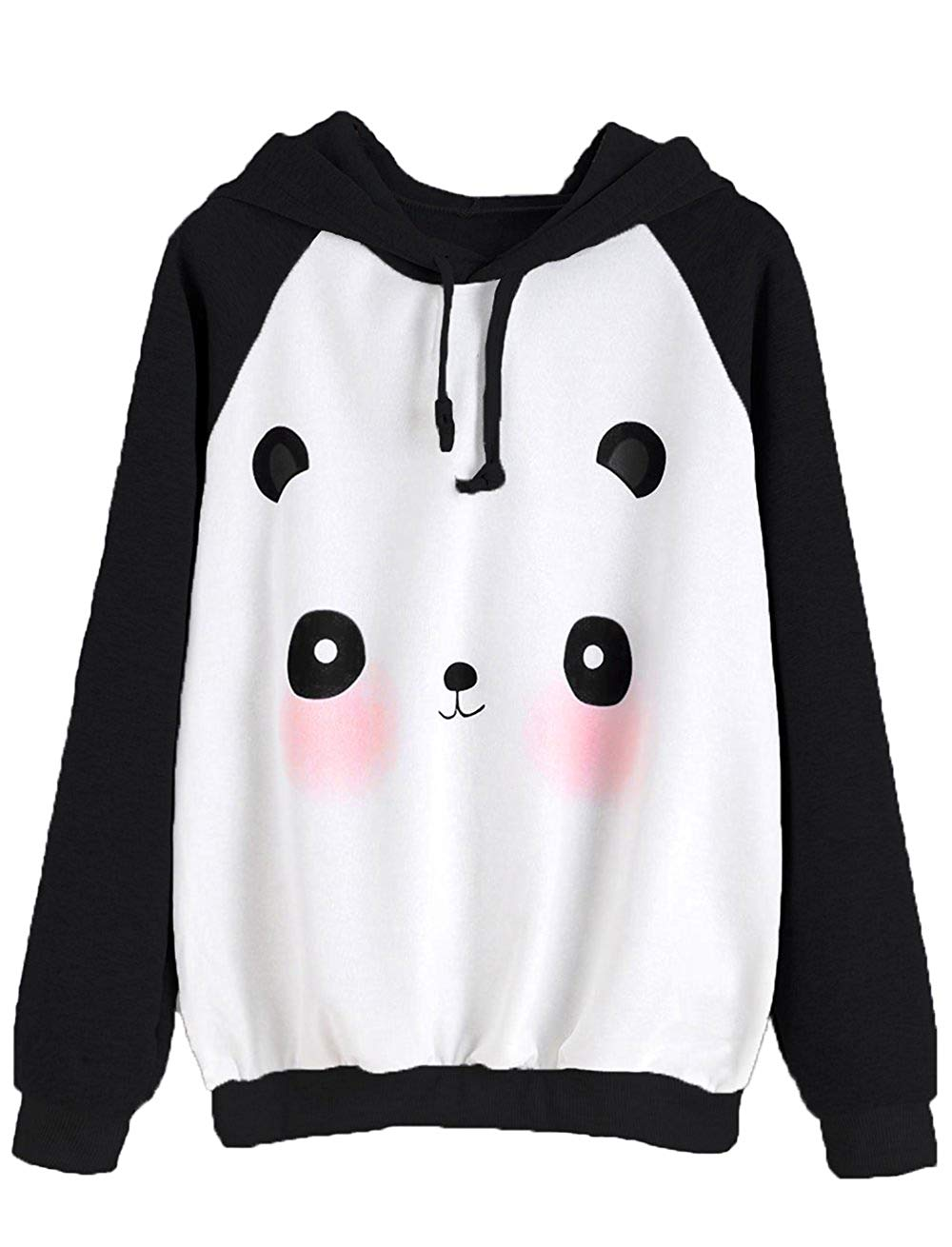 MAKEMECHIC Women's Casual Long Sleeve Cartoon Print Raglan Pullover Hoodie Sweatshirt