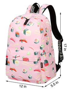 Mygreen Polka Dot Canvas School Backpack Bag, Cute Bookbag for Teen Girls Womens