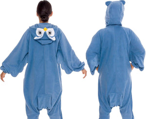 Silver Lilly Unisex Adult Pajamas - Plush One Piece Cosplay Owl Animal Costume